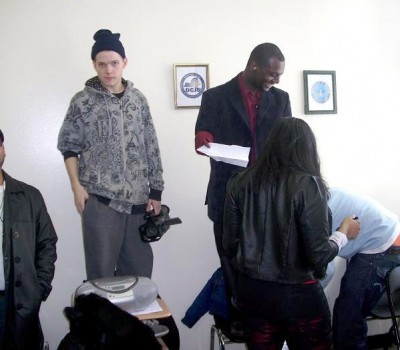 Grind Stack - behind the scenes - Logan taking direction in classroom